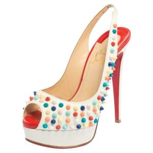 Christian Louboutin White Leather Lady Peep Multicolor Spikes Slingback Sandals Size 36.5