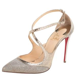 Christian Louboutin Metallic Gold/Silver Glitter And Suede Crissos Ankle Strap Sandals Size 37.5