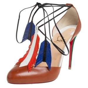 Christian Louboutin Multicolor Leather and Suede Fringe Tie Up Pumps Size 38