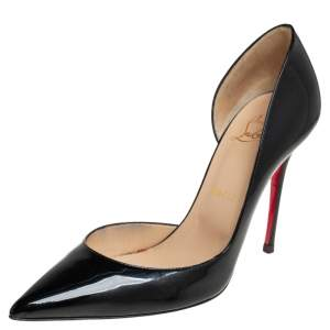 Christian Louboutin Black Patent Leather Iriza D'orsay Pointed Toe Pumps Size 38