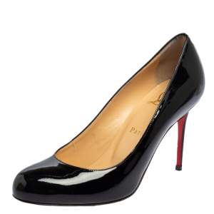 Christian Louboutin Black Patent Leather Fifi  Pumps Size 38
