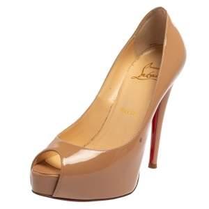 Christian Louboutin Beige Patent Leather Lady Peep Toe Pumps Size 35