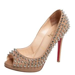 Christian Louboutin Beige Leather Yolanda Spikes Peep Toe Pumps Size 35
