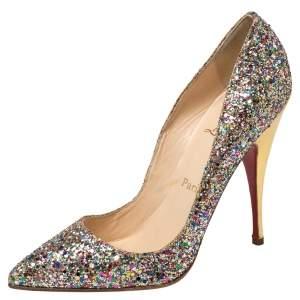حذاء كعب عالي كريستيان لوبوتان غليتر متعدد الألوان مقدمة مدببة مقاس 38.5