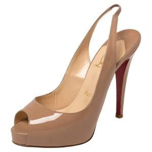 Christian Louboutin Beige Patent Leather New Prive Peep Toe Slingback Sandals Size 36.5