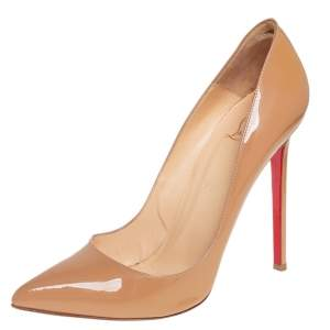 Christian Louboutin Beige Patent Leather Pigalle Pointed Toe Pumps Size 40