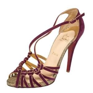 Christian Louboutin Purple Suede Strappy Mignon Sandals Size 40