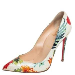 حذاء كعب عالي كريستيان لوبوتان مقدمة مدببة فوليز بيغال جلد طباعة زهور متعدد الألوان مقاس 37.5