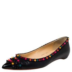 Christian Louboutin Black Leather Embellished Ballet Flats Size 39.5