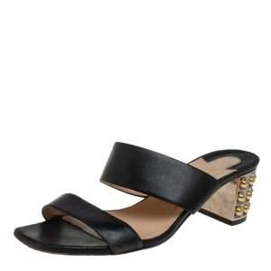 Christian Louboutin Black Leather Opticat Slide Sandals Size 38.5