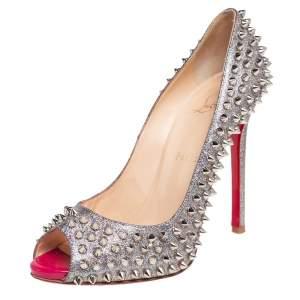 حذاء كعب عالي كريستيان لوبوتان فلو مقدمة مفتوحة مزخرف سبايك قماش غليتر متعدد الألوان مقاس 38.5