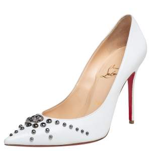 Christian Louboutin White Leather Door Knock Studded Pumps Size 38