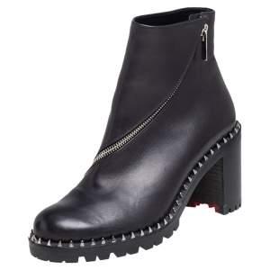 Christian Louboutin Black Leather Birgitta Ankle Boots Size 38.5