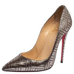 حذاء كعب عالي كريستيان لوبوتان بيغال فوليس جلد فضي ميتالك مقاس 37.5