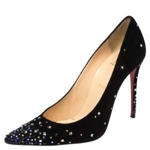 Christian Louboutin Black Suede Crystal Star Embellished Gravitanita Pointed Toe Pumps Size 39