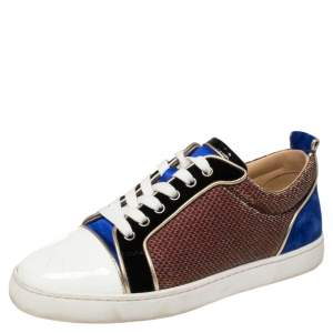 Christian Louboutin Multicolor Lamé Fabric, Velvet and Patent Leather Louis Junior Spikes Sneakers Size 39