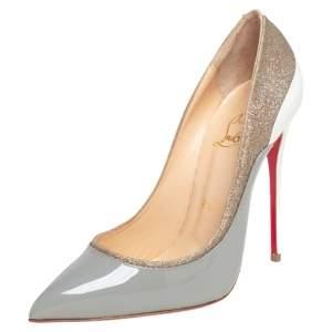 حذاء كعب عالي كريستيان لوبوتان توكسيك جلد لامع وغليتر رصاصي/ أبيض مقاس 36.5