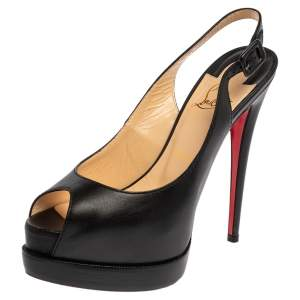 Christian Louboutin Black Leather Palais Royal Trepointe Slingback Sandals Size 38.5
