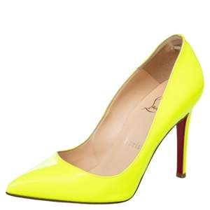 Christian Louboutin Neon Green Leather Pigalle Follies Pointed Toe Pumps Size 35.5