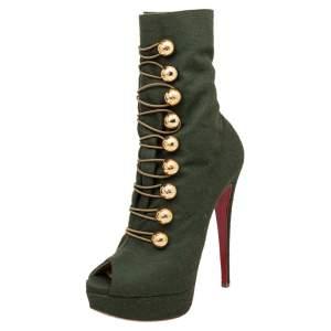 حذاء بوت كاحل كريستيان لوبوتان ألتا بوتون كانفاس أخضر نعل سميك بمقدمة مفتوحة مقاس 38.5