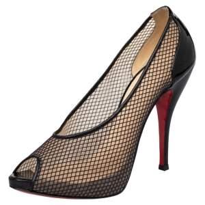حذاء كعب عالي كريستيان لوبوتان فيتيلو 120 شبك وجلد أسود لامع بمقدمة مفتوحة  مقاس 40