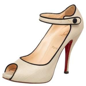 حذاء كعب عالي كريستيان لوبوتان ميليتا ماري جين قماش داماس بيج بمقدمة مفتوحة مقاس 40