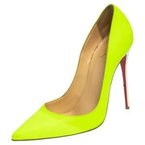 حذاء كعب عالي كريستيان لوبوتان سو كيت جلد أخضر / أبيض مقاس 40.5
