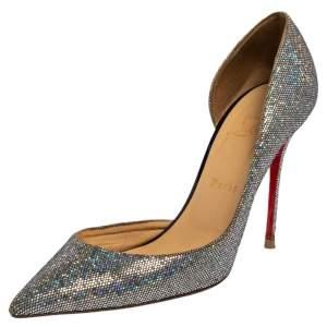 Christian Louboutin Multicolor Glitter Iriza D'orsay Pointed Toe Pumps Size 39.5