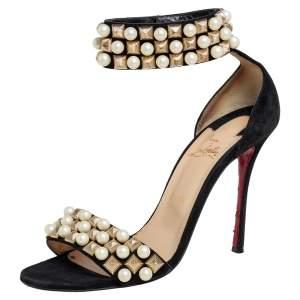 Christian Louboutin Black Suede Tudor Ankle Strap Sandals Size 40.5