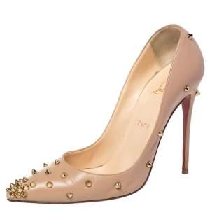 حذاء كعب عالي كريستيان لوبوتان ديجراسبايك جلد بيج  بمقدمة مدببة مقاس 40.5