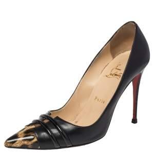 حذاء كعب عالي كريستيان لوبوتان فرونت دابل جلد بنقشة الفهد أسود لامع مقاس 40