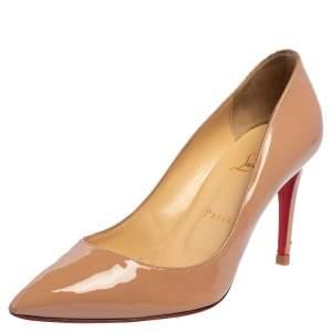 حذاء كعب عالي كريستيان لوبوتان سو كيت 85  جلد بيج نود لامع مقاس 38.5