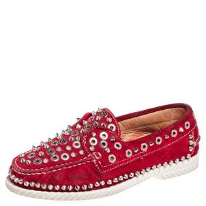 Christian Louboutin Red Suede Studded Boat Deck Derby Size 37