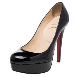حذاء كعب عالي كريستيان لوبوتان بيانكا جلد أسود بنعل سميك مقاس 36