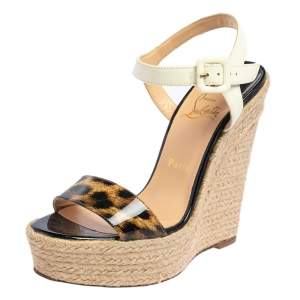 Christian Louboutin Tricolor Patent Leather Spachica Espadrille Wedge Sandals Size 37