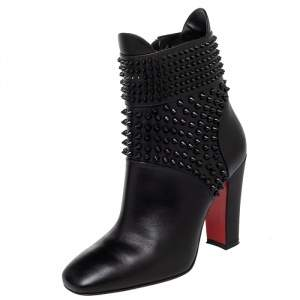 Christian Louboutin Black Leather Praguoise Ankle Length Boots Size 36.5