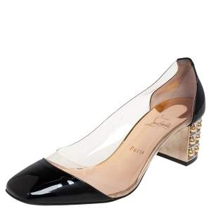 Christian Louboutin Black Patent Leather and PVC Gallica 55 Block Heel Pumps Size 41