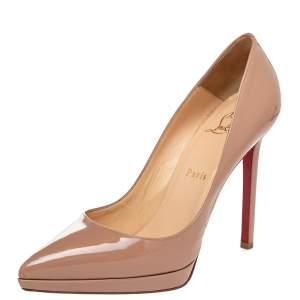 Christian Louboutin Beige Patent Leather Pigalle Plato Pumps Size 38