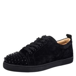 حذاء رياضي كريستيان لوبوتان أورلاتو سويدي أسود عنق منخفض مقاس 40