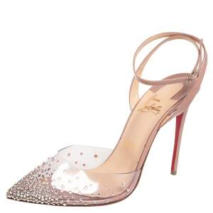 Christian Louboutin Beige Patent Leather and PVC Spikaqueen Pumps Size 40