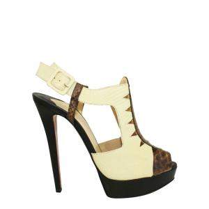 Christian Louboutin Yellow Croc Leather Peep Toe Pumps Size 40
