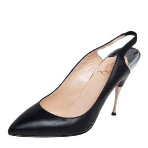 حذاء كعب عالي كريستيان لوبوتان تويستوشات جلد أسود فتحة كعب مقاس 38.5