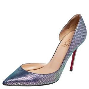 Christian Louboutin Metallic Blue Leather Iriza Pumps Size 37.5