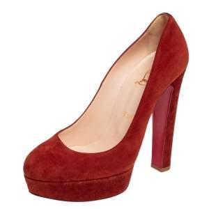 حذاء كعب عالي كريستيان لوبوتان بيبي سويدي بني نعل سميك مقاس 38.5