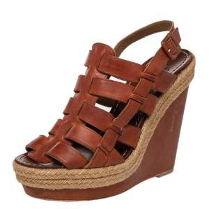 Christian Louboutin Brown Leather Caged Espadrille Wedge Sandals Size 39