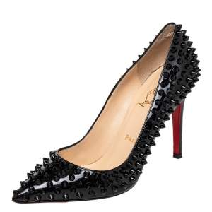 Christian Louboutin Black Patent Leather Pigalle Spikes Pointed Toe Pumps Size 37