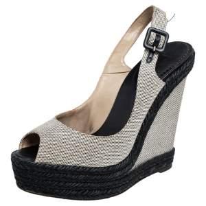 Christian Louboutin Black/Wedge Canvas Peep Toe Espadrille Wedge Sandals Size 38