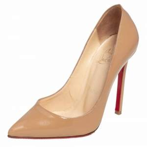 Christian Louboutin Beige Patent Leather Pigalle Pointed Toe Pumps Size 35.5