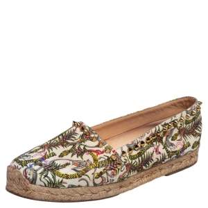 Christian Louboutin Ivory Multicolor Canvas Ares Spiked Espadrilles Flats Size 37