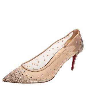 Christian Louboutin Beige Crystal Embellished Mesh Follies Strass Pointed Toe Pumps Size 37